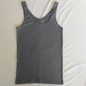 🔴 OLD NAVY Grey Fitted Ribbed Tank Top